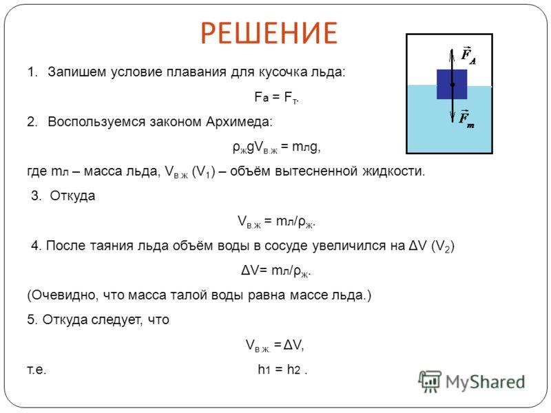 1.Запишем условие плавания для кусочка льда: Fа = Fт. Fа = Fт. 2.Воспользуемся законом Архимеда: ρ ж gV в.ж = m л g, где m л – масса льда, V в.ж (V 1 ) – объём вытесненной жидкости. 3. Откуда V в.ж = m л /ρ ж. 4. После таяния льда объём воды в сосуде