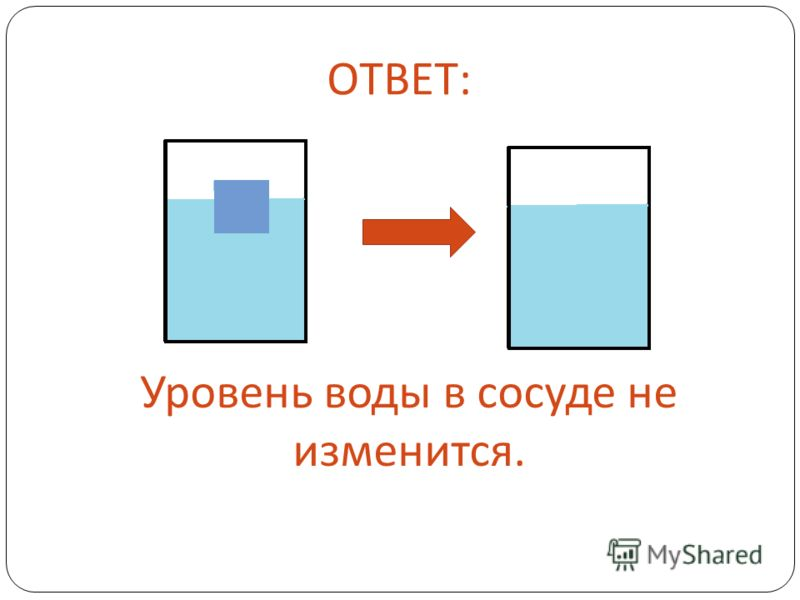 ОТВЕТ: Уровень воды в сосуде не изменится.