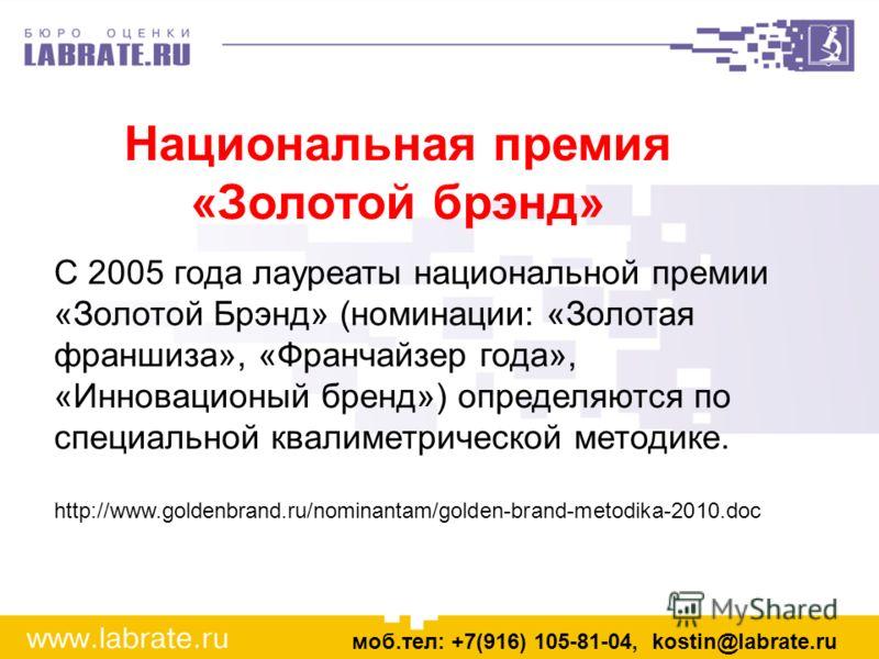 С 2005 года лауреаты национальной премии «Золотой Брэнд» (номинации: «Золотая франшиза», «Франчайзер года», «Инновационый бренд») определяются по специальной квалиметрической методике. http://www.goldenbrand.ru/nominantam/golden-brand-metodika-2010.d