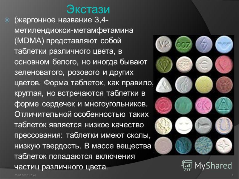 Экстази (жаргонное название 3,4- метилендиокси-метамфетамина (MDMA) представляют собой таблетки различного цвета, в основном белого, но иногда бывают зеленоватого, розового и других цветов. Форма таблеток, как правило, круглая, но встречаются таблетк