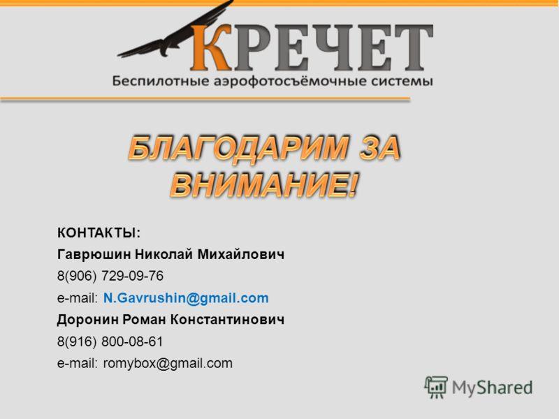 КОНТАКТЫ: Гаврюшин Николай Михайлович 8(906) 729-09-76 e-mail: N.Gavrushin@gmail.com Доронин Роман Константинович 8(916) 800-08-61 e-mail: romybox@gmail.com