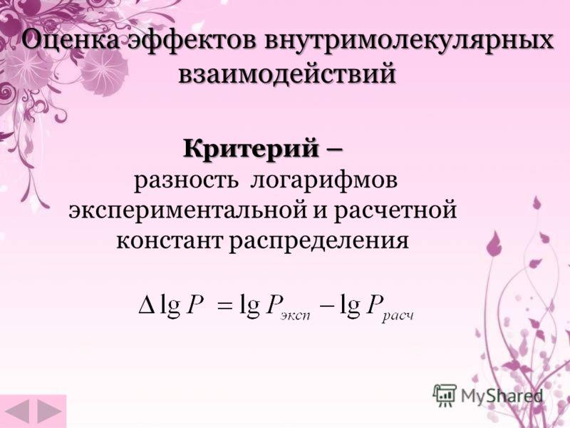 Оценка эффектов внутримолекулярных взаимодействий Критерий – разность логарифмов экспериментальной и расчетной констант распределения