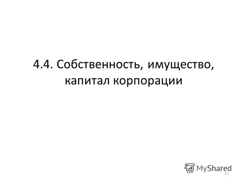 4.4. Собственность, имущество, капитал корпорации 53