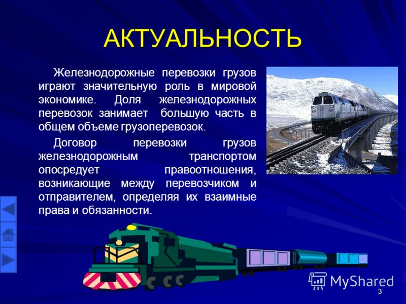 АКТУАЛЬНОСТЬ Железнодорожные перевозки грузов играют значительную роль в мировой экономике. Доля железнодорожных перевозок занимает большую часть в общем объеме грузоперевозок. Договор перевозки грузов железнодорожным транспортом опосредует правоотно