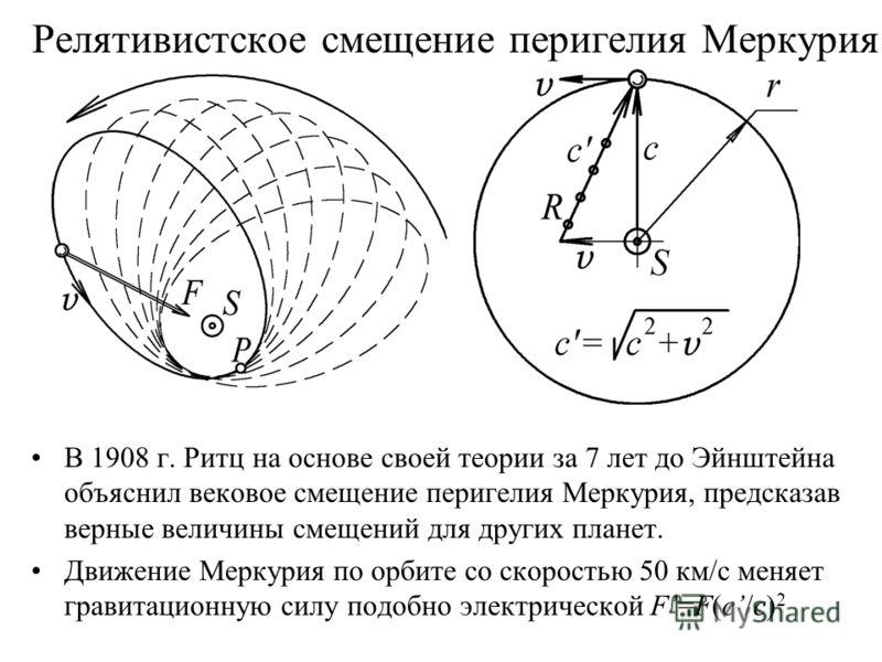 Релятивистское смещение перигелия Меркурия В 1908 г. Ритц на основе своей теории за 7 лет до Эйнштейна объяснил вековое смещение перигелия Меркурия, предсказав верные величины смещений для других планет. Движение Меркурия по орбите со скоростью 50 км