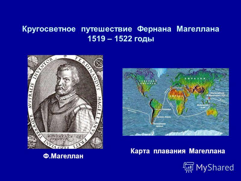 Кругосветное путешествие Фернана Магеллана 1519 – 1522 годы Ф.Магеллан Карта плавания Магеллана