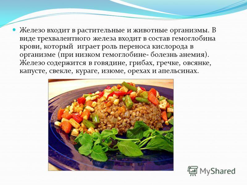 Железо входит в растительные и животные организмы. В виде трехвалентного железа входит в состав гемоглобина крови, который играет роль переноса кислорода в организме (при низком гемоглобине- болезнь анемия). Железо содержится в говядине, грибах, греч
