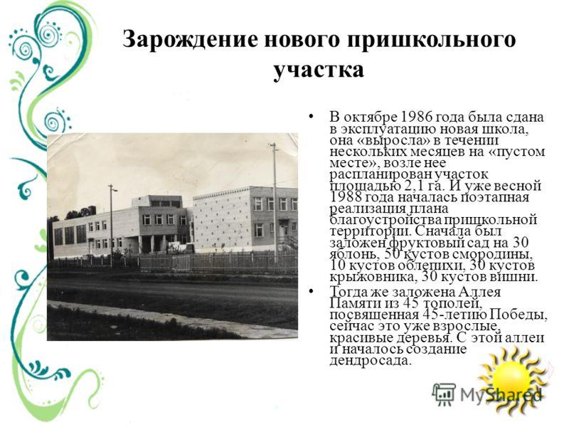 Зарождение нового пришкольного участка В октябре 1986 года была сдана в эксплуатацию новая школа, она «выросла» в течении нескольких месяцев на «пустом месте», возле нее распланирован участок площадью 2,1 га. И уже весной 1988 года началась поэтапная