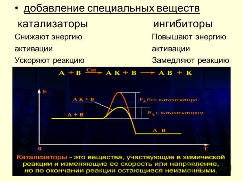 добавление специальных веществ катализаторы ингибиторы Снижают энергию Повышают энергию активации Ускоряют реакцию Замедляют реакцию