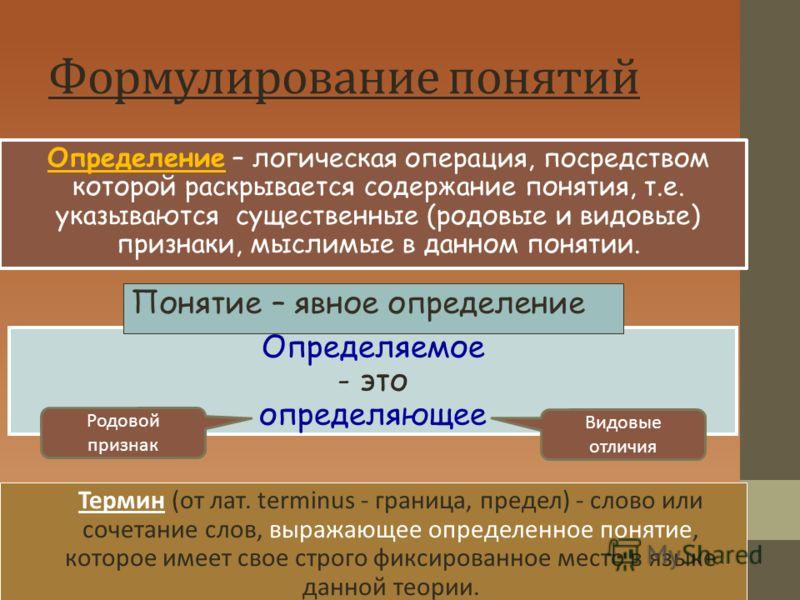 Формулирование понятий Определение – логическая операция, посредством которой раскрывается содержание понятия, т.е. указываются существенные (родовые и видовые) признаки, мыслимые в данном понятии. Определяемое - это определяющее Термин (от лат. term