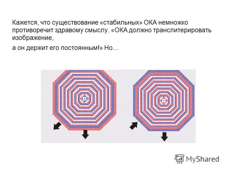 Кажется, что существование «стабильных» ОКА немножко противоречит здравому смыслу. «ОКА должно транслитерировать изображение, а он держит его постоянным!» Но…