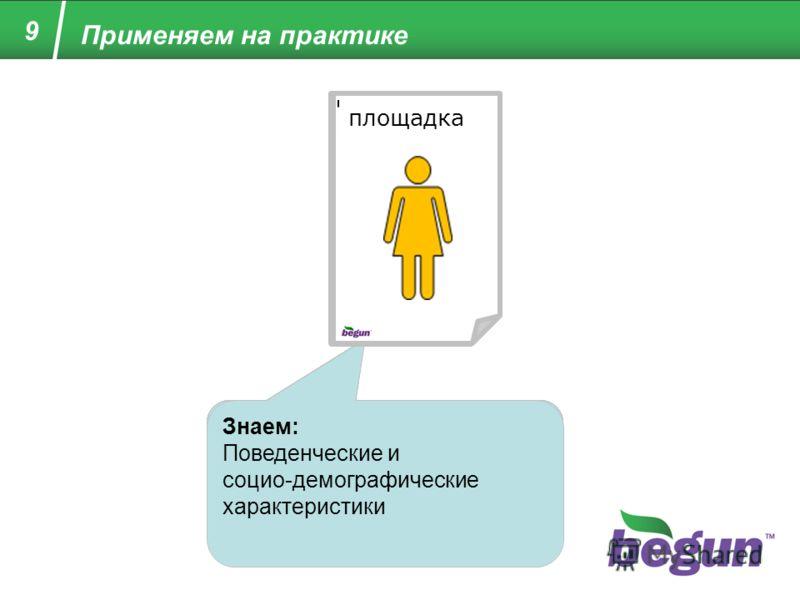 Знаем: Ничего (новый пользователь) Пользователь на сайте с рекламой «Бегуна» Знаем: Предыдущий сайт или запрос, интерес к рекламе, тематику сайта и страницы. Анкета: Заполняется на площадке. Обезличенная часть данных передается в «Бегун». Пользовател