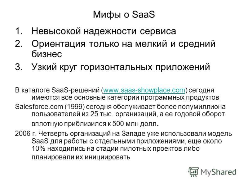 Мифы о SaaS 1.Невысокой надежности сервиса 2.Ориентация только на мелкий и средний бизнес 3.Узкий круг горизонтальных приложений В каталоге SaaS-решений (www.saas-showplace.com) сегодня имеются все основные категории программных продуктовwww.saas-sho