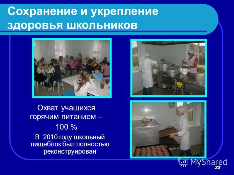 22 В 2010 году школьный пищеблок был полностью реконструирован Охват учащихся горячим питанием – 100 % Сохранение и укрепление здоровья школьников