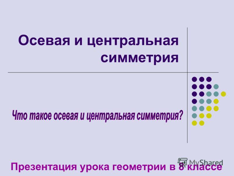 Осевая и <a href='http://www.myshared.ru/slide/40001/' title='центральная симметрия'>центральная симметрия</a> Презентация урока геометрии в 8 классе