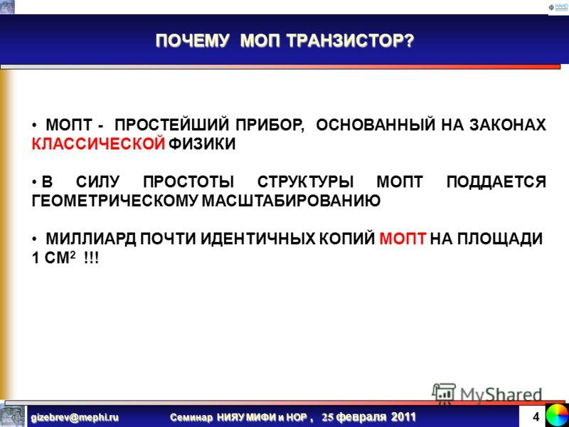 Семинар НИЯУ МИФИ и НОР, 25 февраля 2011 gizebrev@mephi.ru 3 ПОЧЕМУ КРЕМНИЙ ? КРЕМНИЙ ИМЕЕТ ПОЧТИ ИДЕАЛЬНЫЙ РОДНОЙ ИЗОЛЯТОР SiO 2 КРЕМНИЙ ИМЕЕТ ПОЧТИ ИДЕАЛЬНУЮ ШИРИНУ ЗАПРЕЩЕННОЙ ЗОНЫ (~ 1 эВ) КРЕМНИЙ ИМЕЕТ ПОЧТИ ИДЕАЛЬНУЮ ГРАНИЦУ РАЗДЕЛА Si- SiO 2 (