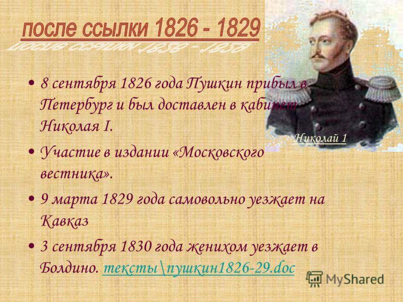 8 сентября 1826 года Пушкин прибыл в Петербург и был доставлен в кабинет Николая I. Участие в издании «Московского вестника». 9 марта 1829 года самовольно уезжает на Кавказ 3 сентября 1830 года женихом уезжает в Болдино. тексты\пушкин1826-29.docтекст