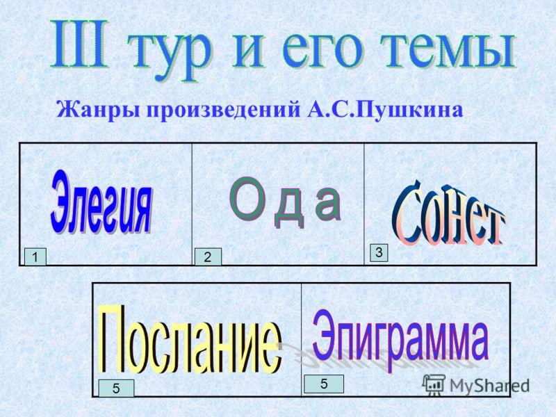 Жанры произведений А.С.Пушкина 1 2 3 5 5