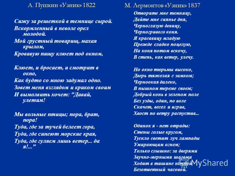 А. Пушкин «Узник» 1822 Сижу за решеткой в темнице сырой. Вскормленный в неволе орел молодой. Мой грустный товарищ, махая крылом, Кровавую пищу клюет под окном, Клюет, и бросает, и смотрит в окно, Как будто со мною задумал одно. Зовет меня взглядом и