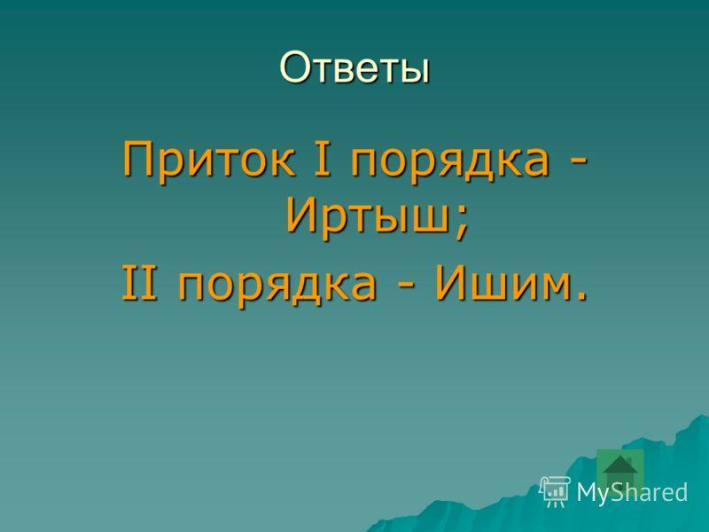 Ответы Приток I порядка - Иртыш; II порядка - Ишим.