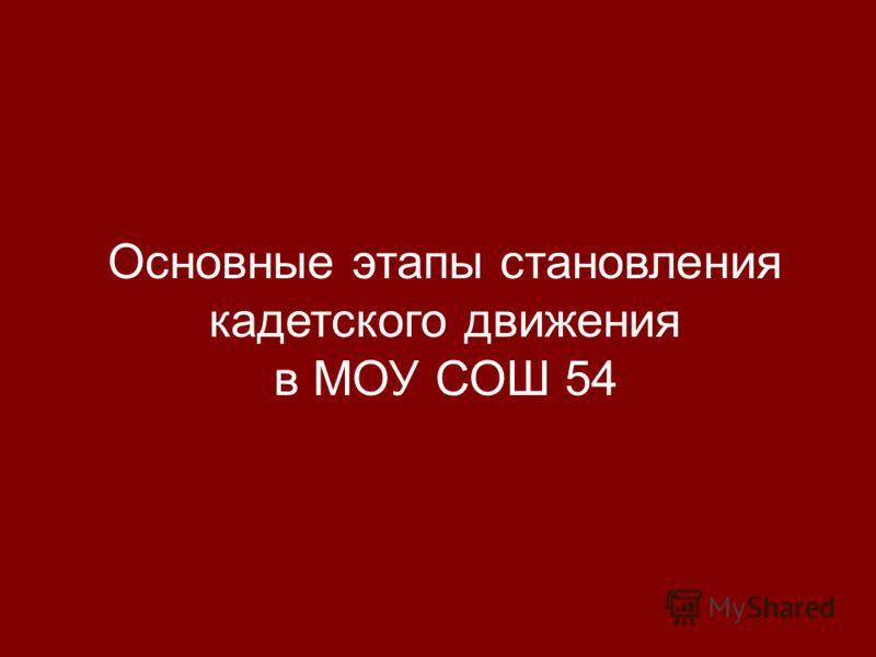 Основные этапы становления кадетского движения в МОУ СОШ 54