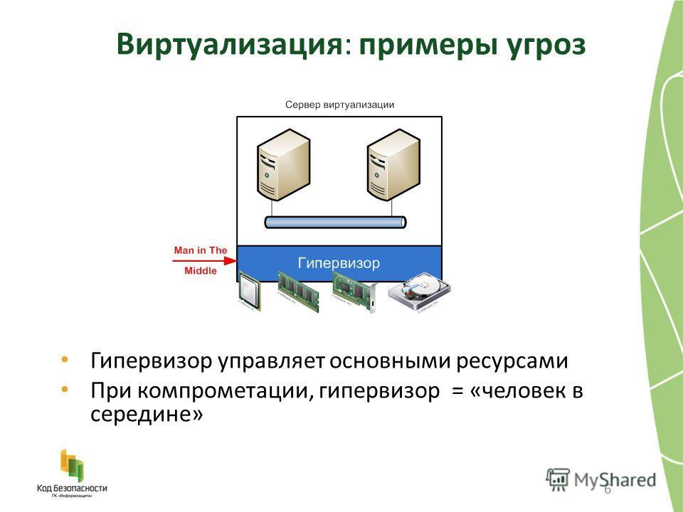 Виртуализация: примеры угроз 6 Гипервизор управляет основными ресурсами При компрометации, гипервизор = «человек в середине»