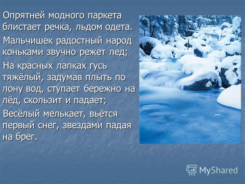 Опрятней модного паркета блистает речка, льдом одета. Мальчишек радостный народ коньками звучно режет лед; На красных лапках гусь тяжёлый, задумав плыть по лону вод, ступает бережно на лёд, скользит и падает; Весёлый мелькает, вьётся первый снег, зве