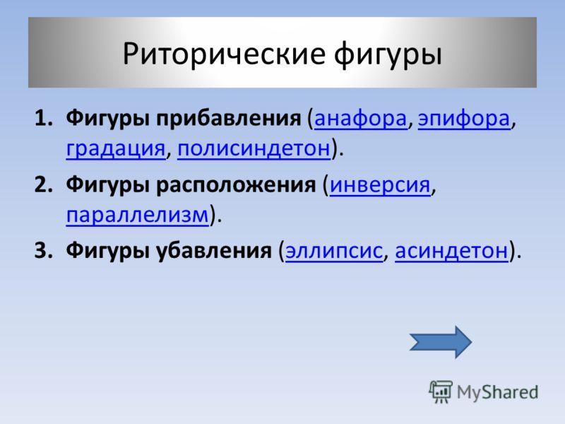 Риторические фигуры 1.Фигуры прибавления (анафора, эпифора, градация, полисиндетон).анафораэпифора градацияполисиндетон 2.Фигуры расположения (инверсия, параллелизм).инверсия параллелизм 3.Фигуры убавления (эллипсис, асиндетон).эллипсисасиндетон