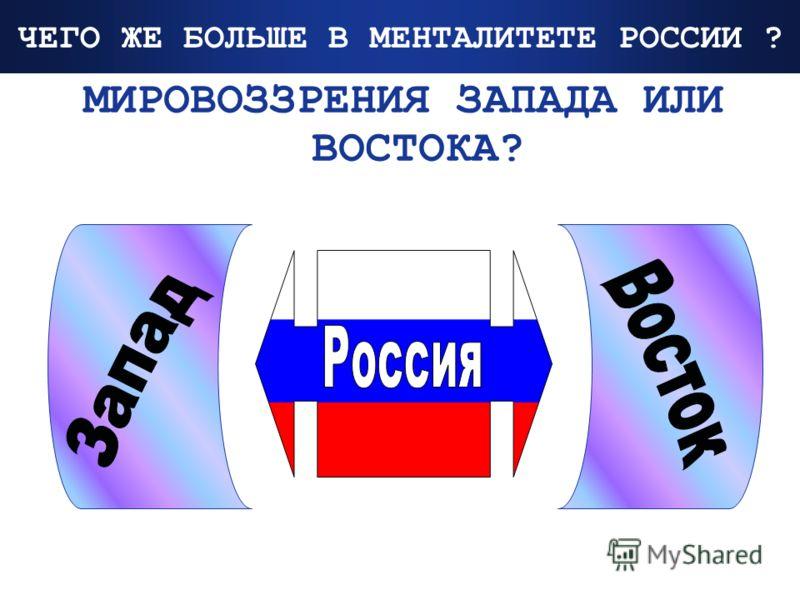 Company Logo www.themegallery.com ЧЕГО ЖЕ БОЛЬШЕ В МЕНТАЛИТЕТЕ РОССИИ ? МИРОВОЗЗРЕНИЯ ЗАПАДА ИЛИ ВОСТОКА?