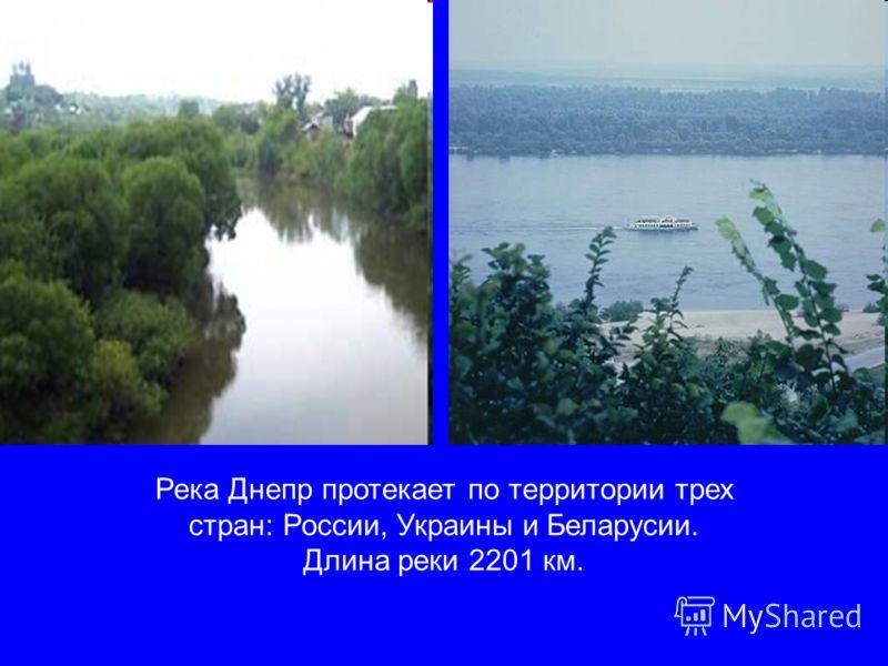 Река Днепр протекает по территории трех стран: России, Украины и Беларусии. Длина реки 2201 км.