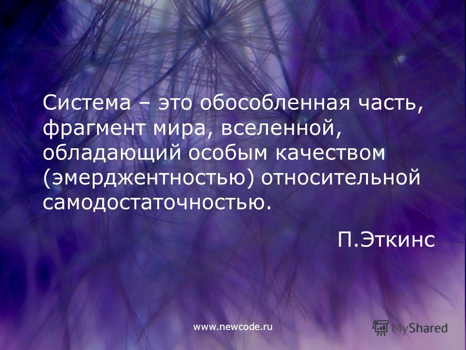 www.newcode.ru Система – это обособленная часть, фрагмент мира, вселенной, обладающий особым качеством (эмерджентностью) относительной самодостаточностью. П.Эткинс