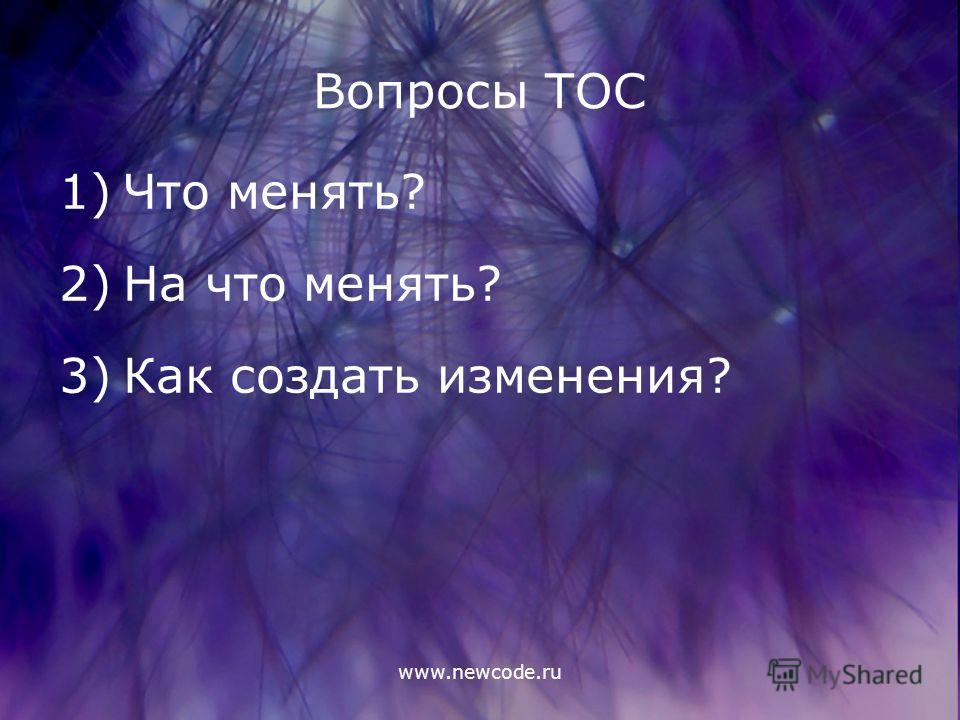 www.newcode.ru Вопросы ТОС 1)Что менять? 2)На что менять? 3)Как создать изменения?