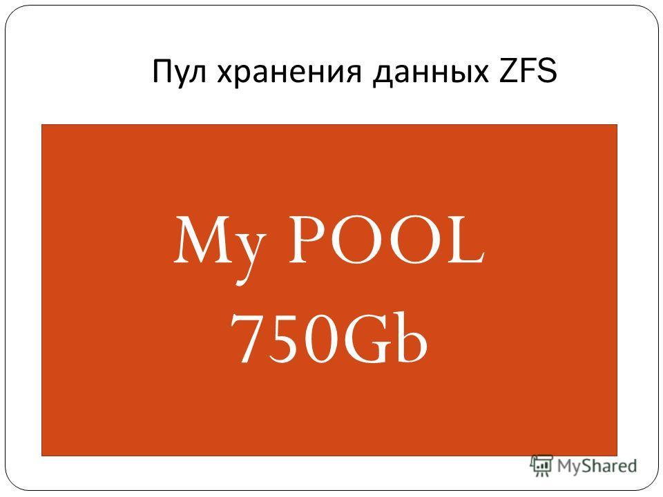 Пул хранения данных ZFS c1t1d0 250G c1t2d0 500G My POOL 750Gb