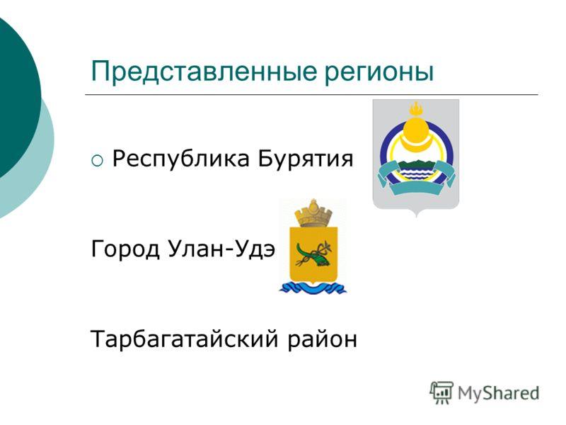 Представленные регионы Республика Бурятия Город Улан-Удэ Тарбагатайский район