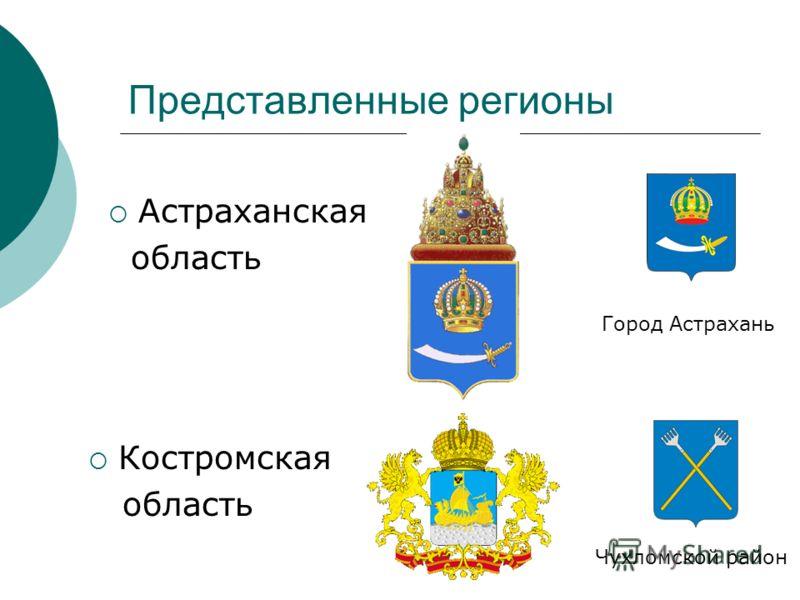 Представленные регионы Костромская область Чухломской район Астраханская область Город Астрахань