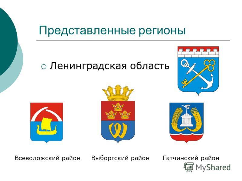 Представленные регионы Ленинградская область Всеволожский район Выборгский район Гатчинский район