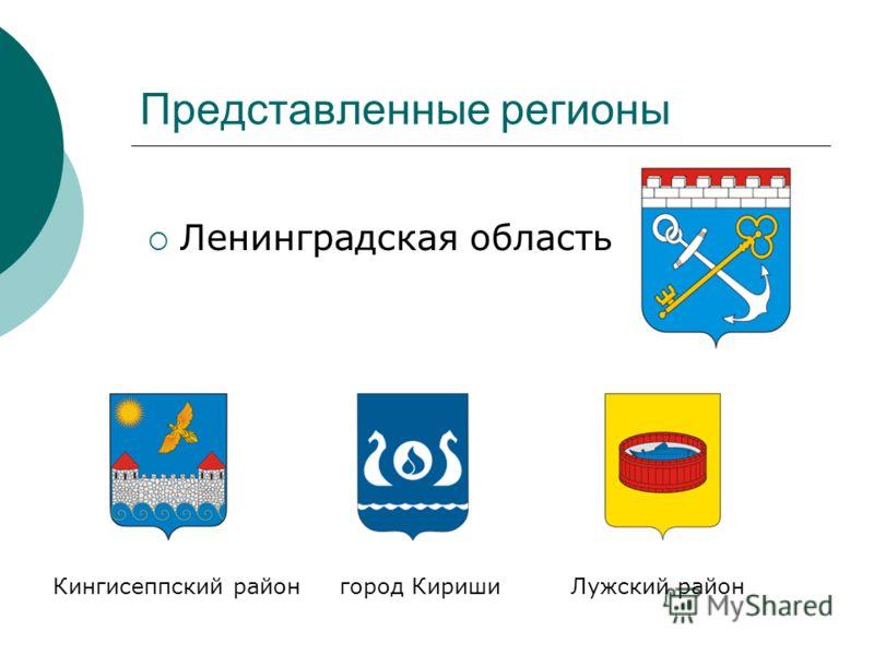 Представленные регионы Ленинградская область Кингисеппский район город Кириши Лужский район