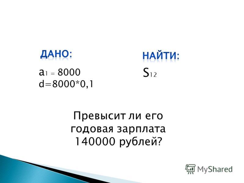 а 1 = 8000 d=8000*0,1 S 12 Превысит ли его годовая зарплата 140000 рублей?