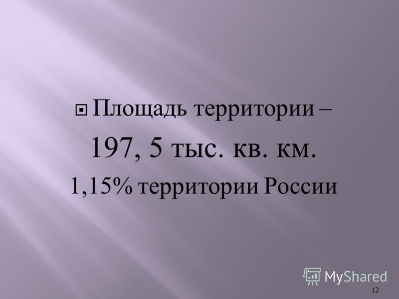 Площадь территории – 197, 5 тыс. кв. км. 1,15% территории России 12