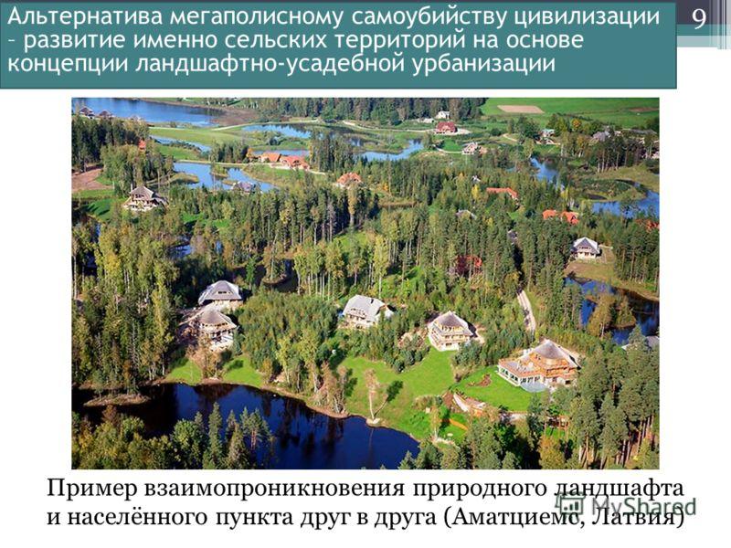 9 Альтернатива мегаполисному самоубийству цивилизации – развитие именно сельских территорий на основе концепции ландшафтно-усадебной урбанизации Пример взаимопроникновения природного ландшафта и населённого пункта друг в друга (Аматциемс, Латвия)