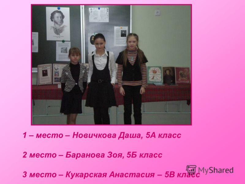 1 – место – Новичкова Даша, 5А класс 2 место – Баранова Зоя, 5Б класс 3 место – Кукарская Анастасия – 5В класс