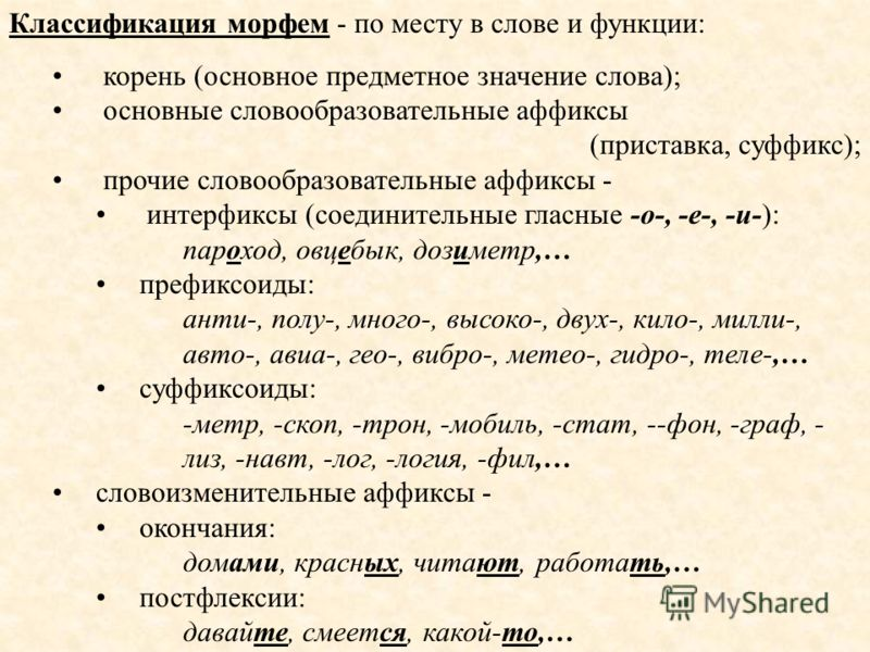 Классификация морфем - по месту в слове и функции: корень (основное предметное значение слова); основные словообразовательные аффиксы (приставка, суффикс); прочие словообразовательные аффиксы - интерфиксы (соединительные гласные -о-, -е-, -и-): парох