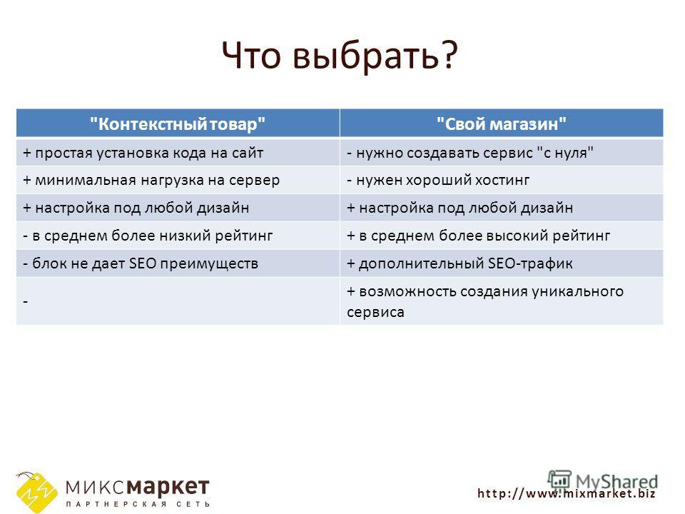 http://www.mixmarket.biz Что выбрать?