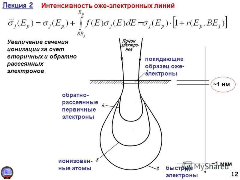 12 Лекция 2 Интенсивность оже-электронных линий Увеличение сечения ионизации за счет вторичных и обратно рассеянных электронов. покидающие образец оже- электроны быстрые электроны ионизован- ные атомы обратно- рассеянные первичные электроны ~1 мкм ~1