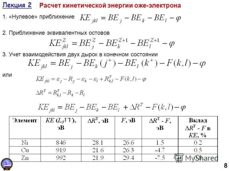 8 Лекция 2 Расчет кинетической энергии оже-электрона 1. «Нулевое» приближение 2. Приближение эквивалентных остовов 3. Учет взаимодействия двух дырок в конечном состоянии или