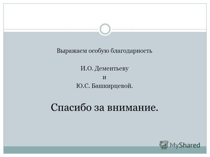 Выражаем особую благодарность И.О. Дементьеву и Ю.С. Башкирцевой. Спасибо за внимание.