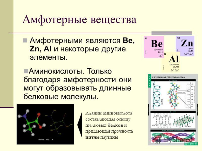 Амфотерные вещества Амфотерными являются Be, Zn, Al и некоторые другие элементы. Аланин аминокислота составляющая основу шелковых белков и придающая прочность нитям паутины Аминокислоты. Только благодаря амфотерности они могут образовывать длинные бе