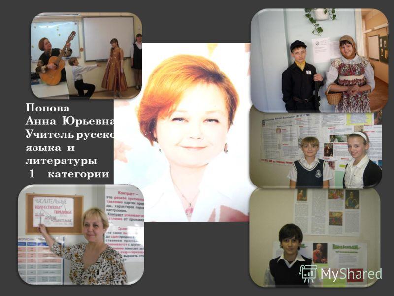 Попова Анна Юрьевна Учитель русского языка и литературы 1 категории
