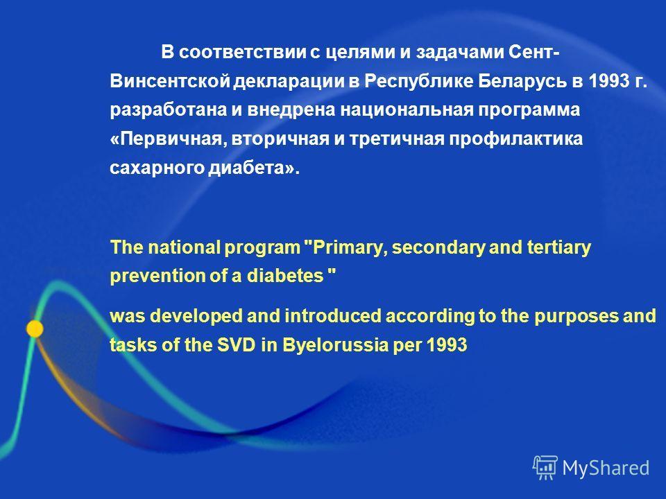 В соответствии с целями и задачами Сент- Винсентской декларации в Республике Беларусь в 1993 г. разработана и внедрена национальная программа «Первичная, вторичная и третичная профилактика сахарного диабета». The national program