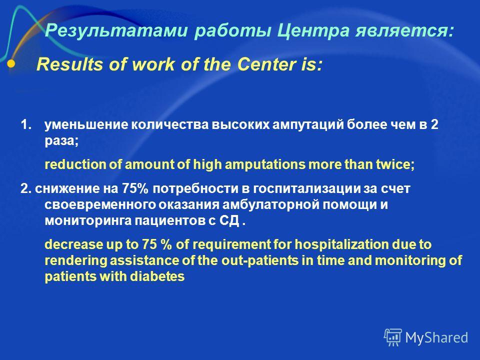 Результатами работы Центра является: Results of work of the Center is: 1. уменьшение количества высоких ампутаций более чем в 2 раза; reduction of amount of high amputations more than twice; 2. снижение на 75% потребности в госпитализации за счет сво